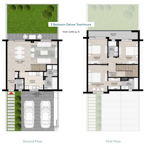 Planning of the apartment Townhouses, 2230 in Nasma Residences, Sharjah