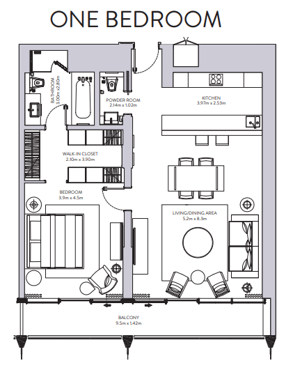 Planning of the apartment 1BR, 1160 in The Sterling, Dubai