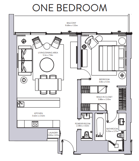 Planning of the apartment 1BR, 1236 in The Sterling, Dubai