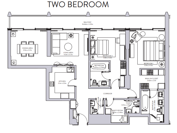 Planning of the apartment 2BR, 1156 in The Sterling, Dubai