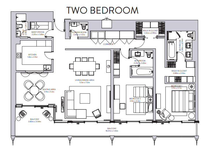Planning of the apartment 2BR, 1546 in The Sterling, Dubai