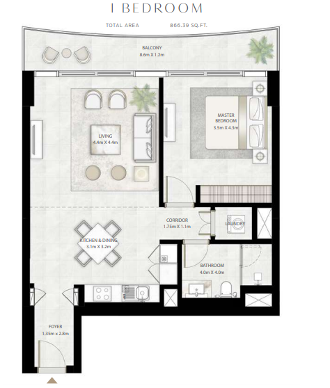 Planning of the apartment 1BR, 865.39 in Beach Vista Tower, Dubai