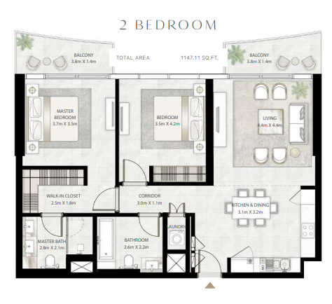 Planning of the apartment 2BR, 1147.11 in Beach Vista Tower, Dubai