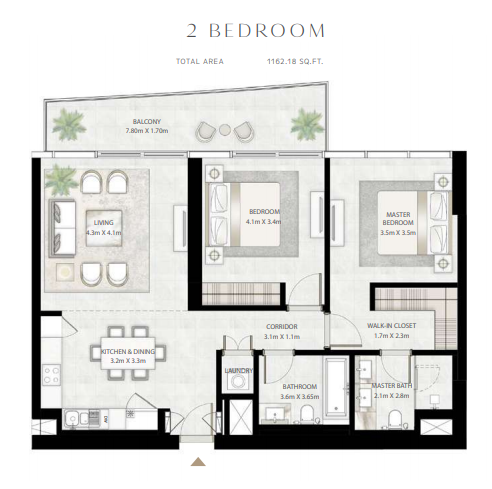 Planning of the apartment 2BR, 1162.18 in Beach Vista Tower, Dubai