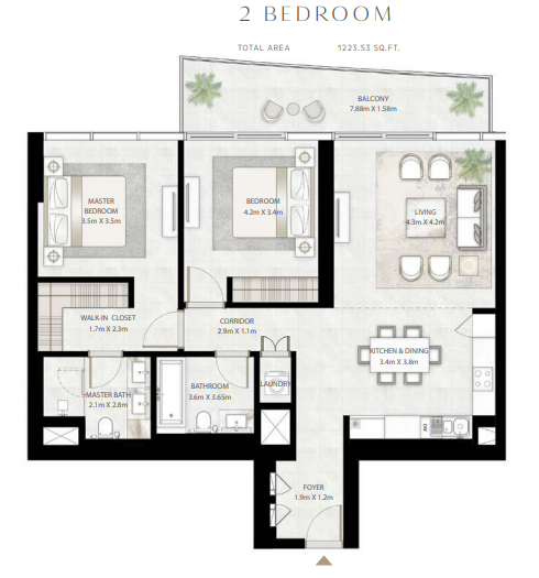 Planning of the apartment 2BR, 1223.53 in Beach Vista Tower, Dubai
