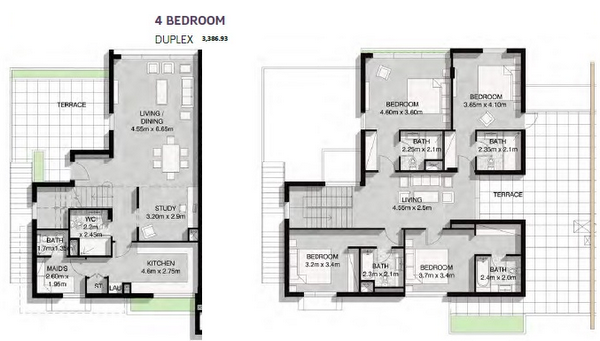 Planning of the apartment 4BR, 3386.93 in Parklane Residence and Townhouses, Dubai