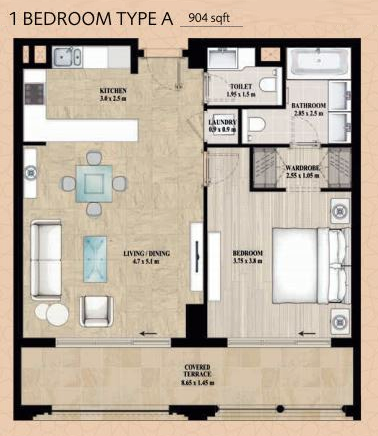 Planning of the apartment 1BR, 904 in Alandalus Apartments and Townhouses, Dubai