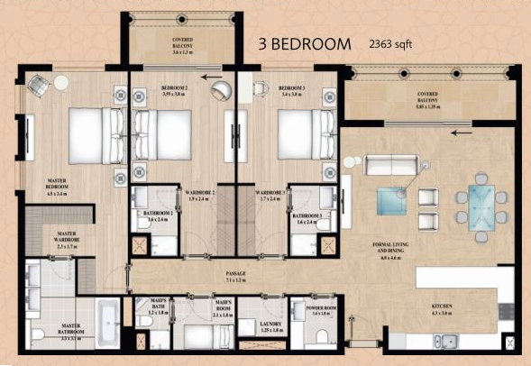 Planning of the apartment 3BR, 2363 in Alandalus Apartments and Townhouses, Dubai