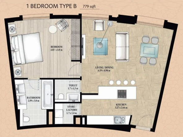 Planning of the apartment 1BR, 779 in Alandalus Apartments and Townhouses, Dubai
