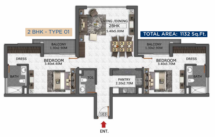 Planning of the apartment 2BR, 1132 in Micasa Avenue, Dubai