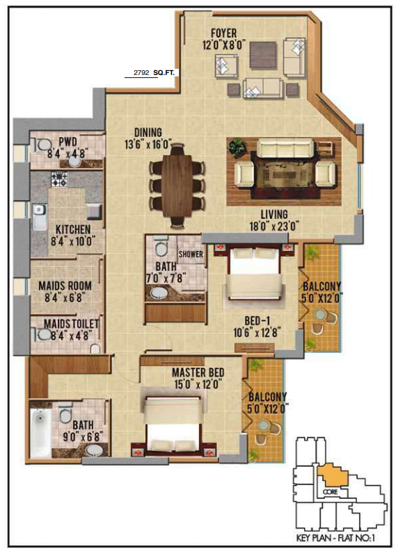 Planning of the apartment 2BR, 2792 in Riah Towers, Dubai