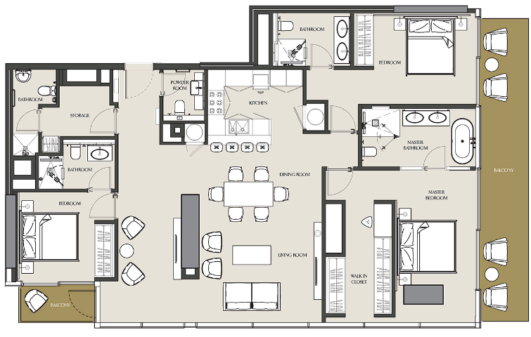 Planning of the apartment 3BR, 1814 in The Residences at Marina Gate, Dubai