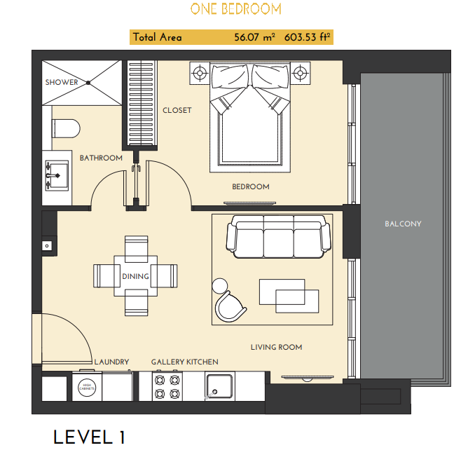 Planning of the apartment 1BR, 603.53 in Studio One Apartments, Dubai