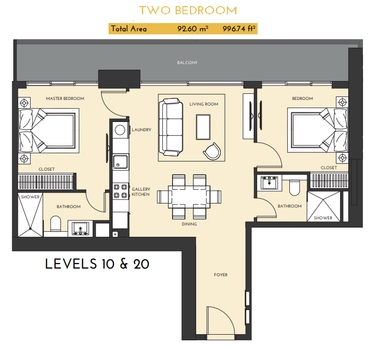 Planning of the apartment 2BR, 996.74 in Studio One Apartments, Dubai