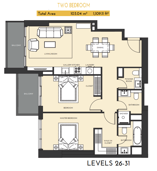 Planning of the apartment 2BR, 1109.11 in Studio One Apartments, Dubai