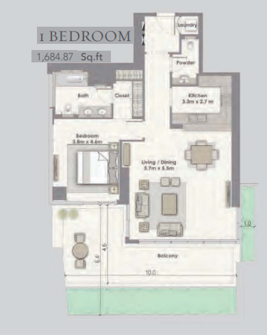 Planning of the apartment 2BR, 1684.87 in Dubai Creek Residences, Dubai