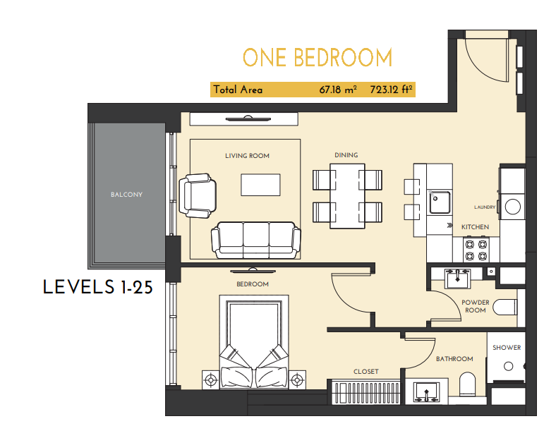 Planning of the apartment 1BR, 723.12 in Studio One Apartments, Dubai