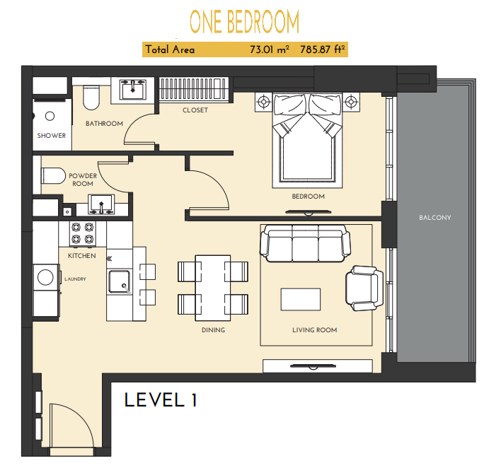 Planning of the apartment 1BR, 785.87 in Studio One Apartments, Dubai