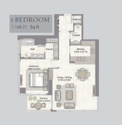 Planning of the apartment 1BR, 1168.21 in Dubai Creek Residences, Dubai