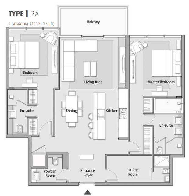 Planning of the apartment 2BR, 1420.43 in The 8, Dubai