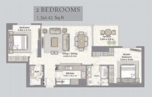 Planning of the apartment 2BR, 1364.43 in Dubai Creek Residences, Dubai