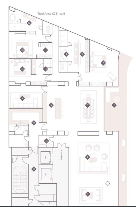 Planning of the apartment 4BR, 6231 in The Alef Residences, Dubai
