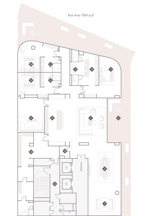 Planning of the apartment 5BR, 7069 in The Alef Residences, Dubai