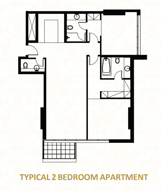 Planning of the apartment 2BR, 1248.62 in O Ten Apartments, Dubai