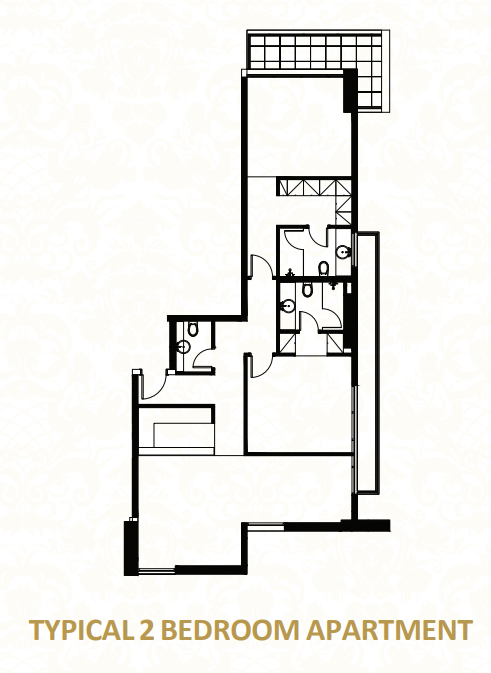 Planning of the apartment 2BR, 1367.02 in O Ten Apartments, Dubai