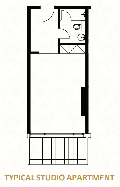 Planning of the apartment Studios, 484.38 in O Ten Apartments, Dubai