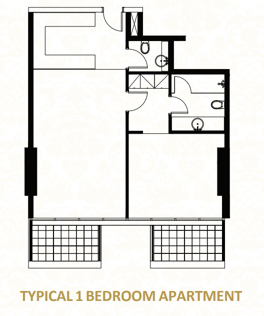 Planning of the apartment 1BR, 882.65 in O Ten Apartments, Dubai