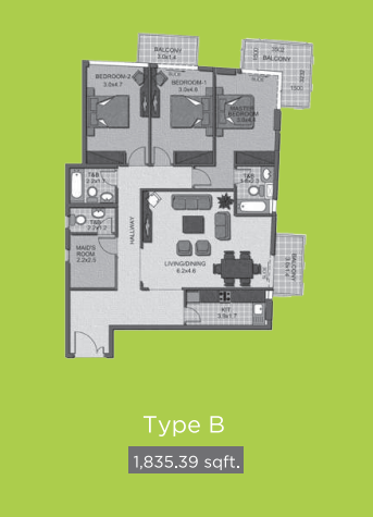 Planning of the apartment 3BR, 1835.39 in Lime Light Twin Towers, Dubai