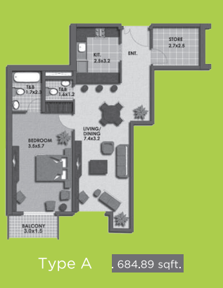 Planning of the apartment 1BR, 684.89 in Lime Light Twin Towers, Dubai