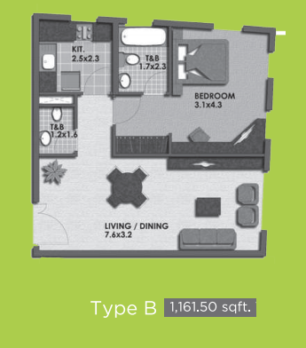 Planning of the apartment 1BR, 1161.5 in Lime Light Twin Towers, Dubai