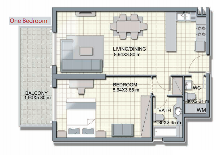 Planning of the apartment 1BR, 859.8 in Alcove, Dubai