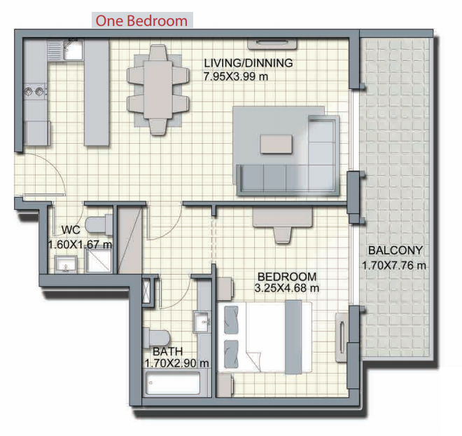 Planning of the apartment 1BR, 912.6 in Alcove, Dubai
