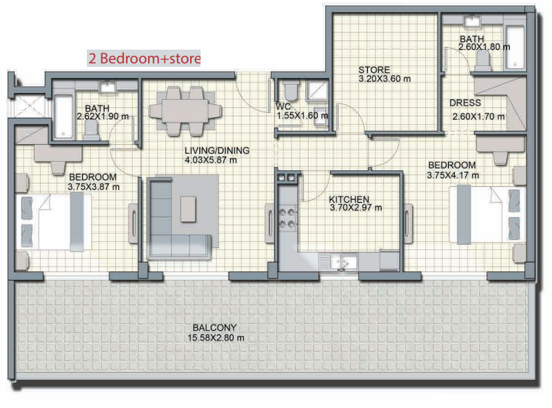 Planning of the apartment 2BR, 2041.5 in Alcove, Dubai