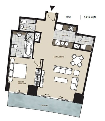 Planning of the apartment 1BR, 1012 in Marsa Plaza, Dubai