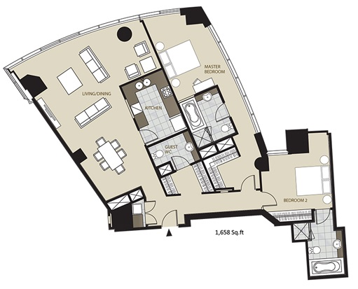 Planning of the apartment 2BR, 1658 in Marsa Plaza, Dubai