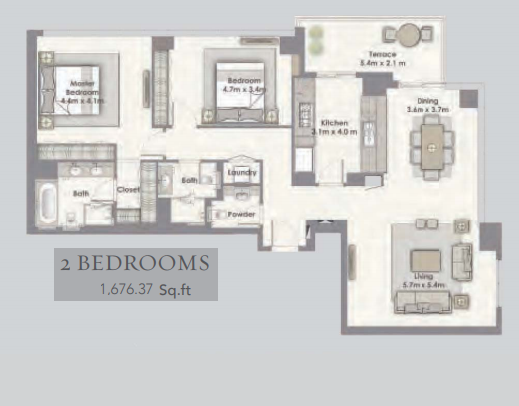 Planning of the apartment 2BR, 1676.37 in Dubai Creek Residences, Dubai