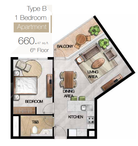 Planning of the apartment 1BR, 660.47 in MAG 5 Boulevard, Dubai