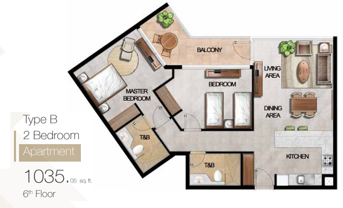 Planning of the apartment 2BR, 1035.06 in MAG 5 Boulevard, Dubai