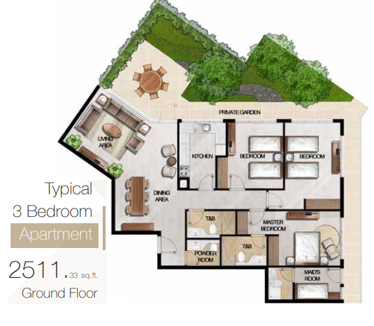 Planning of the apartment 3BR, 2511.33 in MAG 5 Boulevard, Dubai