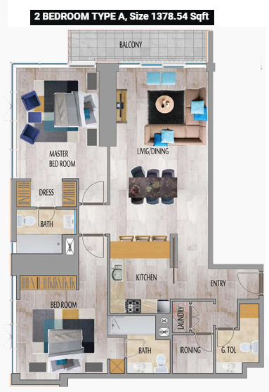 Planning of the apartment 2BR, 1378.54 in MBL Residence, Dubai