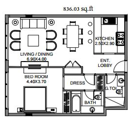Planning of the apartment 1BR, 836.03 in The Polo Residence, Dubai