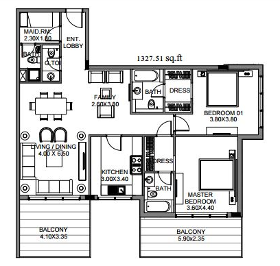 Planning of the apartment 2BR, 1327.51 in The Polo Residence, Dubai