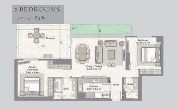 Planning of the apartment 2BR, 1741.17 in Dubai Creek Residences, Dubai