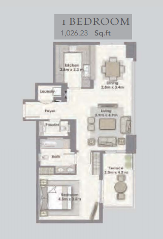 Planning of the apartment 1BR, 1026.23 in Dubai Creek Residences, Dubai