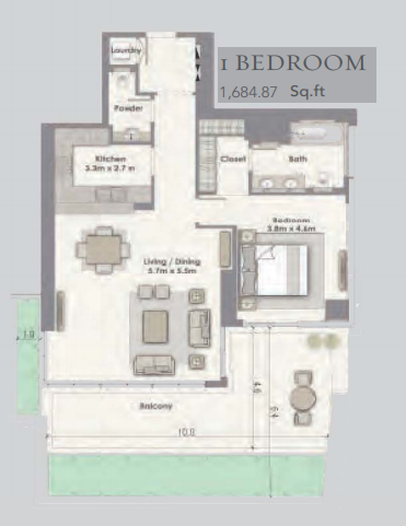 Planning of the apartment 1BR, 1684.87 in Dubai Creek Residences, Dubai
