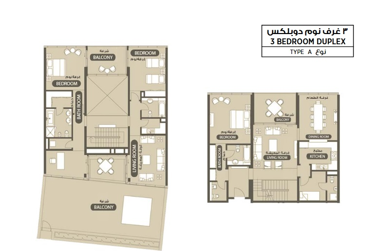 Planning of the apartment 3BR, 3735.4 in Lamar Residence, Abu Dhabi